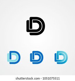 Linked uppercase DD letters logo design. Business, finance, consulting compaly logo. Vector illustration.