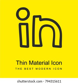 Linkedin logo hand drawn outline bright yellow material minimal icon or logo design