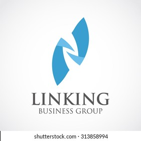 Linking group ribbon curve abstract vector logo design template connection network business icon company identity symbol concept
