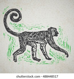 Lino cut tropical Jungle Monkey on background. Vector Illustrated Jungle Monkey.