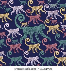 Lino cut tropical Jungle Monkey background. Vector Illustrated Jungle Monkeys seamless pattern.