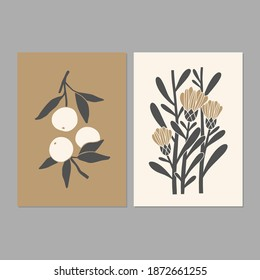 Linocut art. Modern posters with abstract floral illustrations. Great for interior decor, wall art, tote bag, t-shirt print.