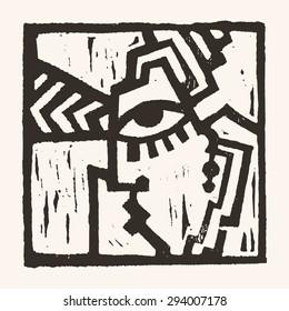 Linocut geometric character- 04