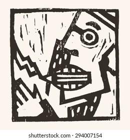 Linocut geometric character- 05