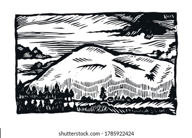 Linocut landscape. Illustration of nature. Clouds and mountains linocut. Black and white illustration of a mountain.