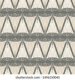 Linocut look seamless geometric pattern with bark texture and hand drawn symbols. Beige, gray and ivory. Great for textiles, home decor, fashion, graphic design and stationery.