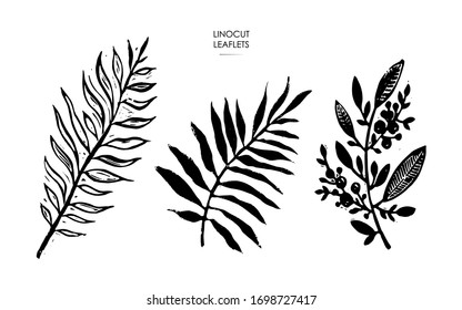 Linocut stamps of leaves.  Vector illustration of leaflets.