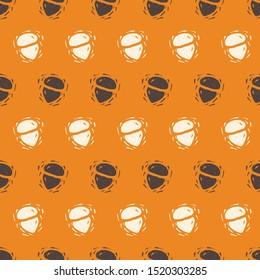 Linocut Style Acorns for Autumn Vector Seamless Pattern