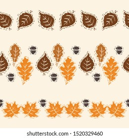 Linocut Style Autumn Leaves Vector Horizontal Seamless Borders Set