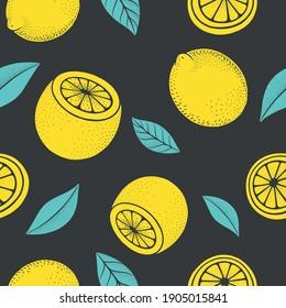 Linocut style lemon seamless pattern. Juicy yellow citrus fruit backdrop. Hand drawn natural textures background. Green leaves dots texture. Sketch art summer fresh illustration.