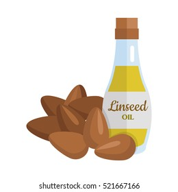 Linseed oil and flax seeds vector. Flat design. Healthy food, diet and cosmetic products. Seasoning. Culinary ingredient, source of protein, vitamins, fatty acids. Isolated on white background.