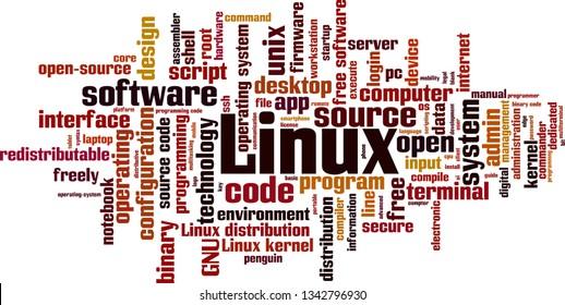 Linux word cloud concept. Vector illustration