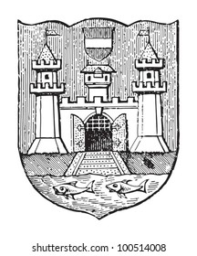 Linz coat of arms (city in Austria) / vintage illustration from Meyers Konversations-Lexikon 1897