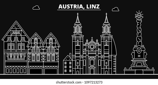 Linz silhouette skyline. Austria - Linz vector city, austrian linear architecture, buildings. Linz travel illustration, outline landmarks. Austria flat icons, austrian line banner