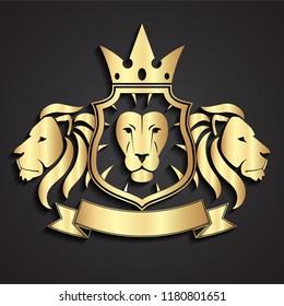 lion 3d golden heraldry logo design