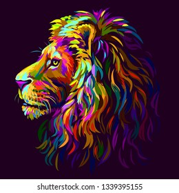 Lion. Abstract, multi-colored profile portrait of a lion's head on a purple background in pop-art style.