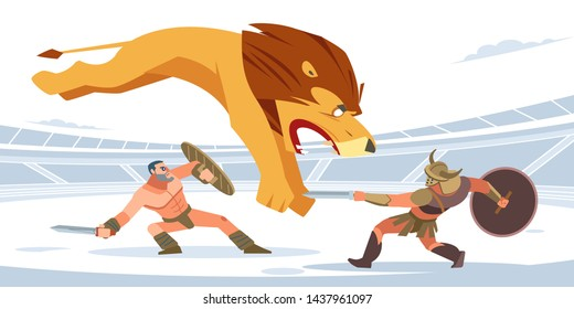 Lion against gladiators. A huge lion is attacking the gladiators. White isolated background. Vector flat cartoon style.
