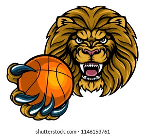 A lion angry animal sports mascot holding a basketball ball