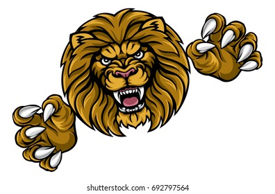 A lion angry animal sports mascot attacking with its claws out