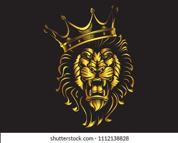Lion angry face gold tattoo. Vector illustration of lion head, print.