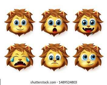 Lion animal emoticon vector set. Lions emoji and emoticon in cute happy facial expression isolated in white background. Vector illustration 3d realistic.