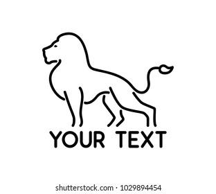 lion animal line logo design illustration