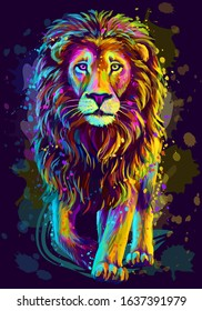 Lion. Artistic, neon color, abstract portrait of a lion walking forward on a dark blue background with watercolor splashes in the style of pop art.