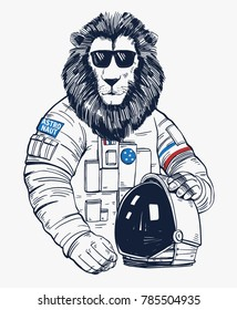 Lion astronaut, hand drawn vector animal illustration, for t-shirt print and other uses.