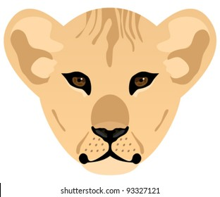 Lion baby head illustration. Lions face isolated