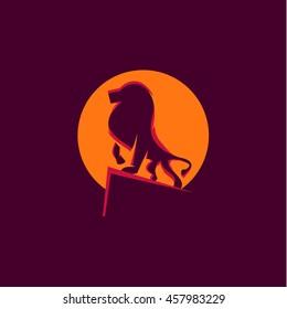 Lion of beasts, animal illustration logo mark a qualitative element modern style