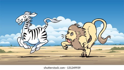 Lion being outrun by a zebra