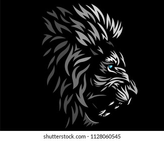 lion black head logo icon designs