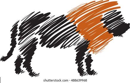 lion brush style illustration