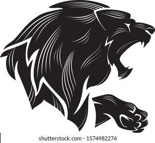 Lion Bust Calligraphic Line Art