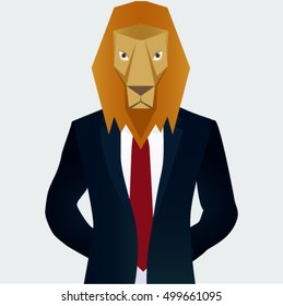 Lion cartoon in business suit/Tough businessman