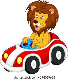 Lion cartoon driving car