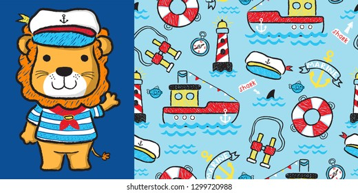 Lion cartoon the skipper with nautical seamless pattern vector