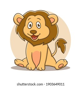 Lion Cartoon Vector Illustration. Zoo And Jungle Mascot Logo. Baby Lion Animal Symbol Icon Character Kids Drawing Element