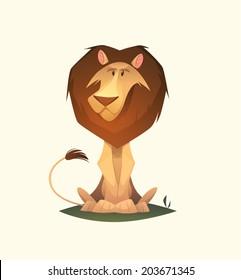 Lion character. Cartoon vector illustration.