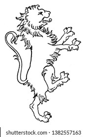 Lion Coat of Arms is designed with an intarsia panel, vintage line drawing or engraving illustration.