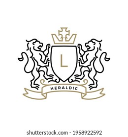 lion coat of arms heraldic logo vector icon illustration