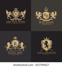 Lion Crests logo set. King royal symbol, Men Fashion brand identity.