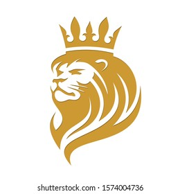 Lion in a crown on a white background in vector EPS8