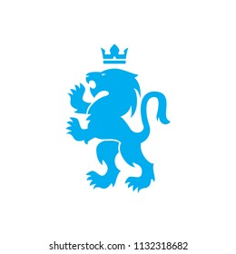 Lion and crown vector logo of blue heraldic lion symbol roaring with raised paws in Swiss or Scandinavian style design