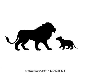 Lion and lion cub predator black silhouette animal. Vector Illustrator.