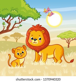 Lion and a lion cub are standing on the grass in the savannah. Vector illustration with cute animals in cartoon style.