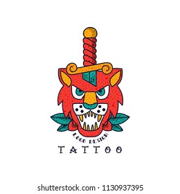 Lion and dagger, classic American old school tattoo logo design vector Illustration on a white background
