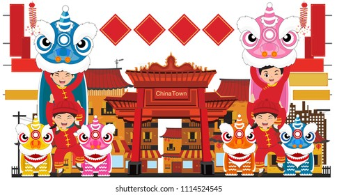 Lion dances celebration in china town, vector