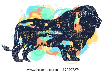 Lion double exposure watercolor