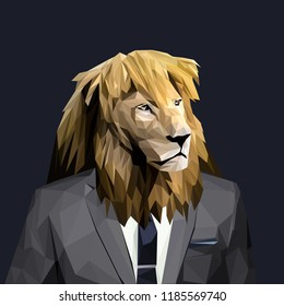 Lion dressed in a suit. Elegant classy style. Vector illustration.
